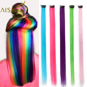 AISI BEAUTY Single Clip In One Piece Hair Extensions Rainbow Colors Synthetic Long Straight