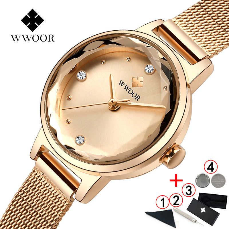 สร้อยข้อมือนาฬิกาผู้หญิง 2019 แบรนด์หรู Wwoor สายคล้องคอกันน้ำคริสตัลสุภาพสตรีนาฬิกาข้อมือ 2019 นาฬิกา Relogio Feminino