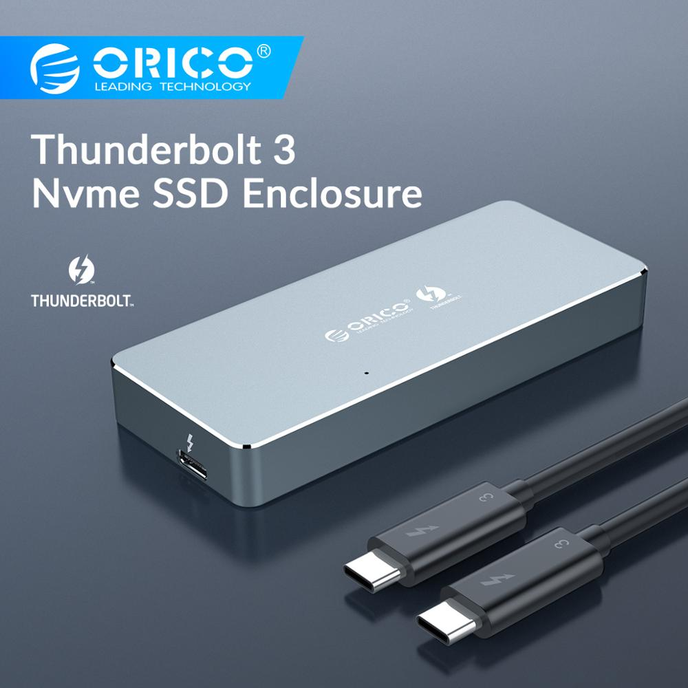 ORICO Thunderbolt 3 NVME M.2 SSD Enclosure Support 40Gbps 2TB Aluminum Type-C With Thunderbolt 3 C To C Cable For Mac Windows