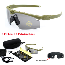 цена на Tactical Polarized Glasses Sport Shooting Glasses UV400 Protection Sunglasses Military Army Goggles 4 Lens Camping Glasses