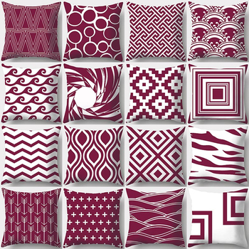 Wine Red Geometry Print Decorative Cushions Pillowcase Polyester Cushion Cover Throw Pillow Sofa Decoration Pillowcover 40927
