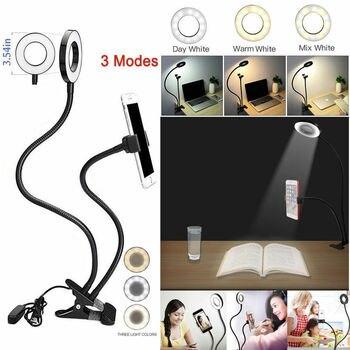 Phone Holder Tripod Selfie Flash Ring Light + Mobile Phone Holder 24 LED Camera 2 in 1 Flexibl Long Arm USB Clip for Live Stream