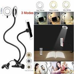 Trípode para soporte de teléfono Selfie Flash Ring Light + soporte para teléfono móvil 24 LED Cámara 2 en 1 Flexibl Clip USB de brazo largo para transmisión en vivo