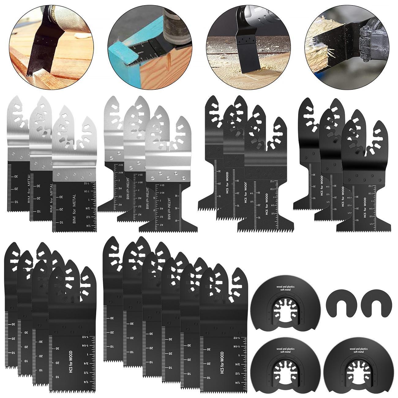 27Pcs Multi-Function Bi-metal Precision Saw Blade Oscillating Multitool Saw Blade For Renovator Power Cutting Multimaster Tools