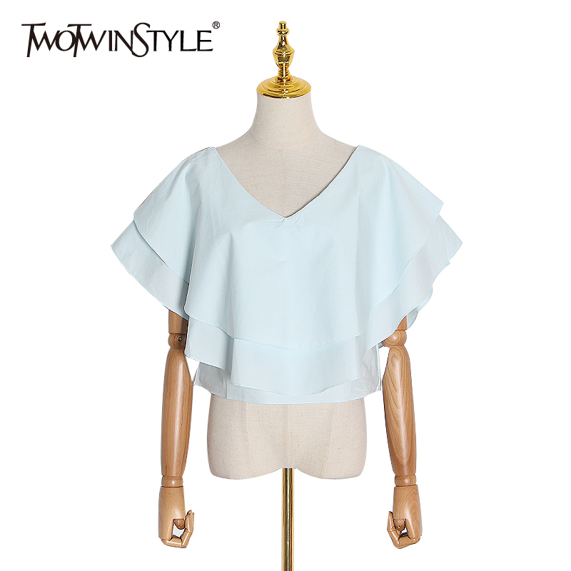 TWOTWINSTYLE Ruffle Ruched Shirt For Women V Neck Short Sleeve Casual Blouse Shirts Female 2020 Spring Fashion New Clothing