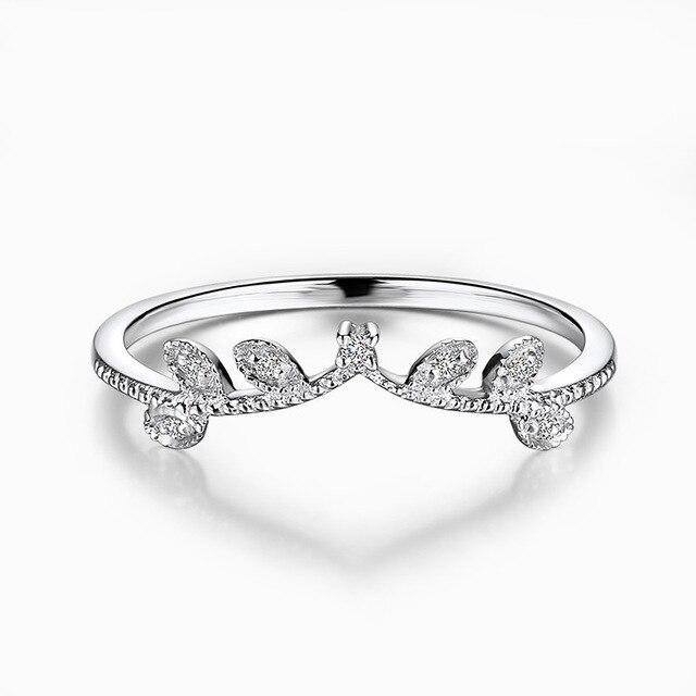 Elegant Crown Diamond 18K Genuine Real True Solid Gold Rings Bands for Women Lady Girlfriend Fancy Upscale Office Jewelry Gift 1