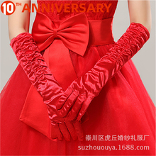 OLLYMURS Short Wedding Gloves Fingerless Bridal Gloves for Women Bride Red Lace Gloves Luva De Noiva Wedding Accessorie