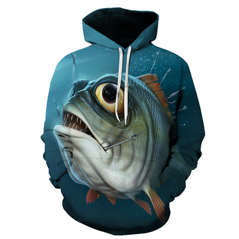 Selling Men Fishing Clothing 3D Digital Printed Hooded Sweater Jacket With Hat Outdoor Cycling Sport Sweatshirt Fishing Clothes
