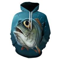 Venda de roupas de pesca dos homens 3d digital impresso com capuz camisola jaqueta com chapéu ao ar livre ciclismo esporte moletom roupas de pesca|Roupas de pesca| |  -