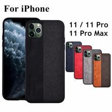 Para o iphone 11 caso de couro de luxo + borda de silicone macio + pano duro coque capa protetora para iphone 11 pro max
