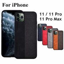 Voor Iphone 11 Case Luxe Lederen + Zachte Siliconen Rand + Harde Doek Beschermende Coque Capas Voor Iphone 11 Pro max Case Cover