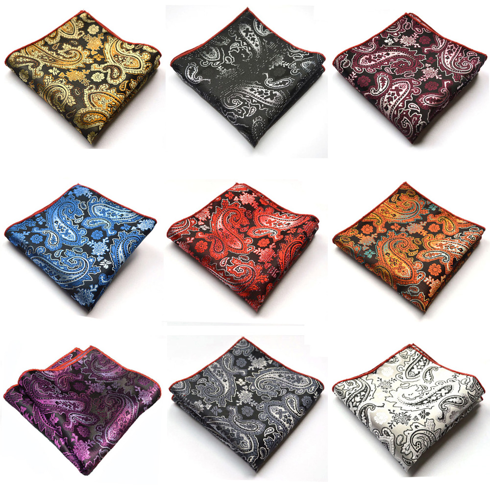 9 PCS Men Paisley Floral Jacquard Handkerchief Pocket Square Party Accessories YXTIE0329A