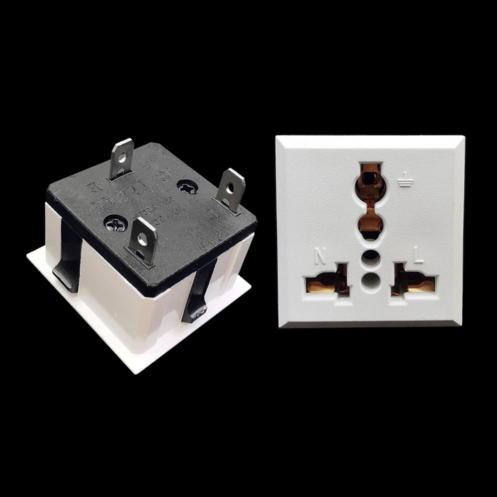 AC Universal Europe EU US UK AU Panel Mount Power Socket Outlet 13A 250V Receptacle Black/White
