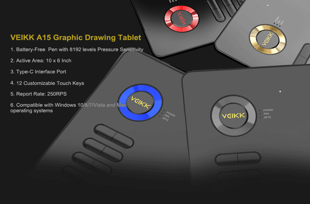 Drawing Tablet VEIKK A15 10x6 inch Graphics Pen Tablet with ...