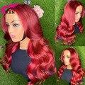 Бразильские волосы Remy 13*4 на сетке спереди, Цветные Красные человеческие парики для женщин, 180% волнистые человеческие волосы 4x4 на сетке спер...