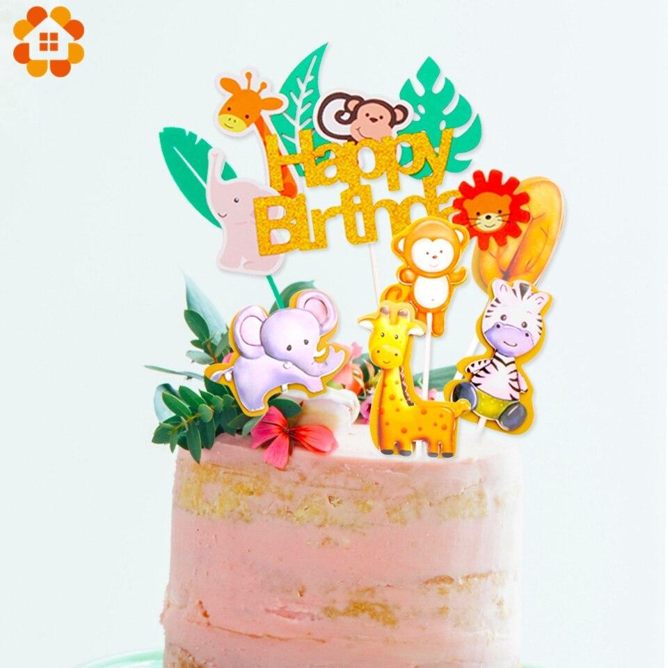 Outstanding 1Set Jungle Animals Cactus Cake Toppers Happy Birthday Decorations Funny Birthday Cards Online Benoljebrpdamsfinfo