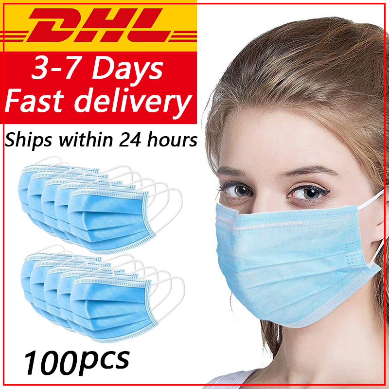 100 Pcs Disposable Dustproof Surgical Face Mouth Masks Anti PM2.5 Breathing Masks Face CareElastic Anti Virus Via DHL UPS Fedex