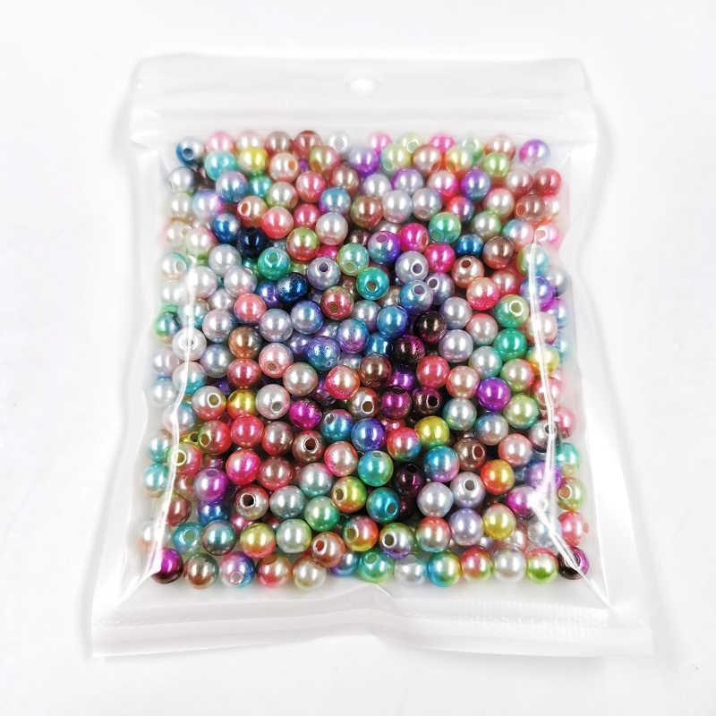 Multi Ukuran Mix 3/4/5/6/8/10/12 Mm Bulat Warna dengan lubang ABS Manik-manik Mutiara Imitasi untuk DIY Perhiasan Kalung Membuat Aksesoris 20G