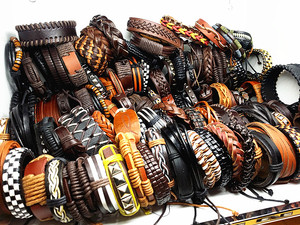 Image 4 - MixMax 50pcs/pack assorted retro Handmade mens top Genuine Leather tribal surfer cuff bracelets mix styles