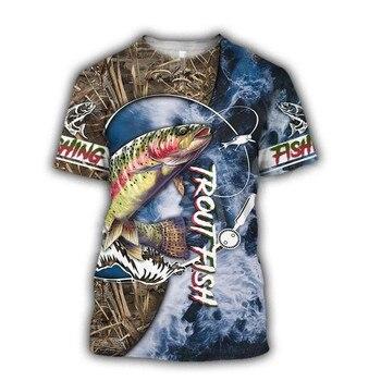 Tessffel New Fashion Animal Art Marlin Bass Hunting Fishing Hunter Camo Casual 3DPrint Unisex T-shirt Short sleeve Men/Women s-1 1