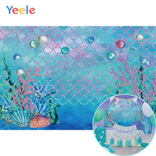 Yeele Baby shower Fish Scale Birthday Mermaid Party Photography Backdrops Personalized Photographic Backgrounds For Photo Studio