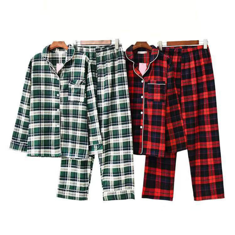 Women Pajamas Set Autumn New 100% Cotton Plaid Pajamas Loose Long Sleeve Sleepwear Pajamas Suit  Casual Homewear Female Pyjamas