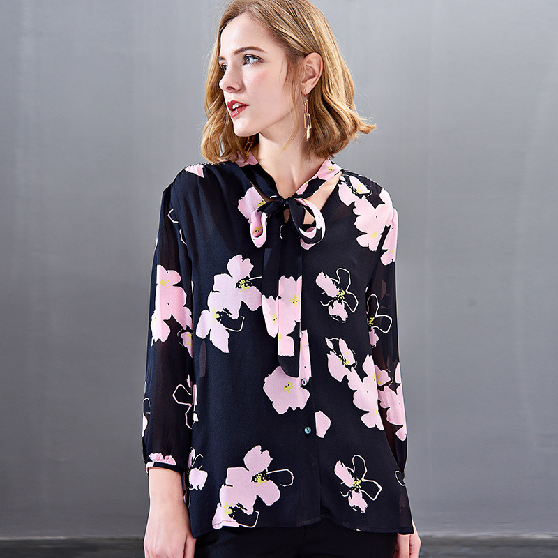 women s blouses and tops silk floral office formal casual shirts plus large size 2019 summer sexy Haut femme navy pink flower