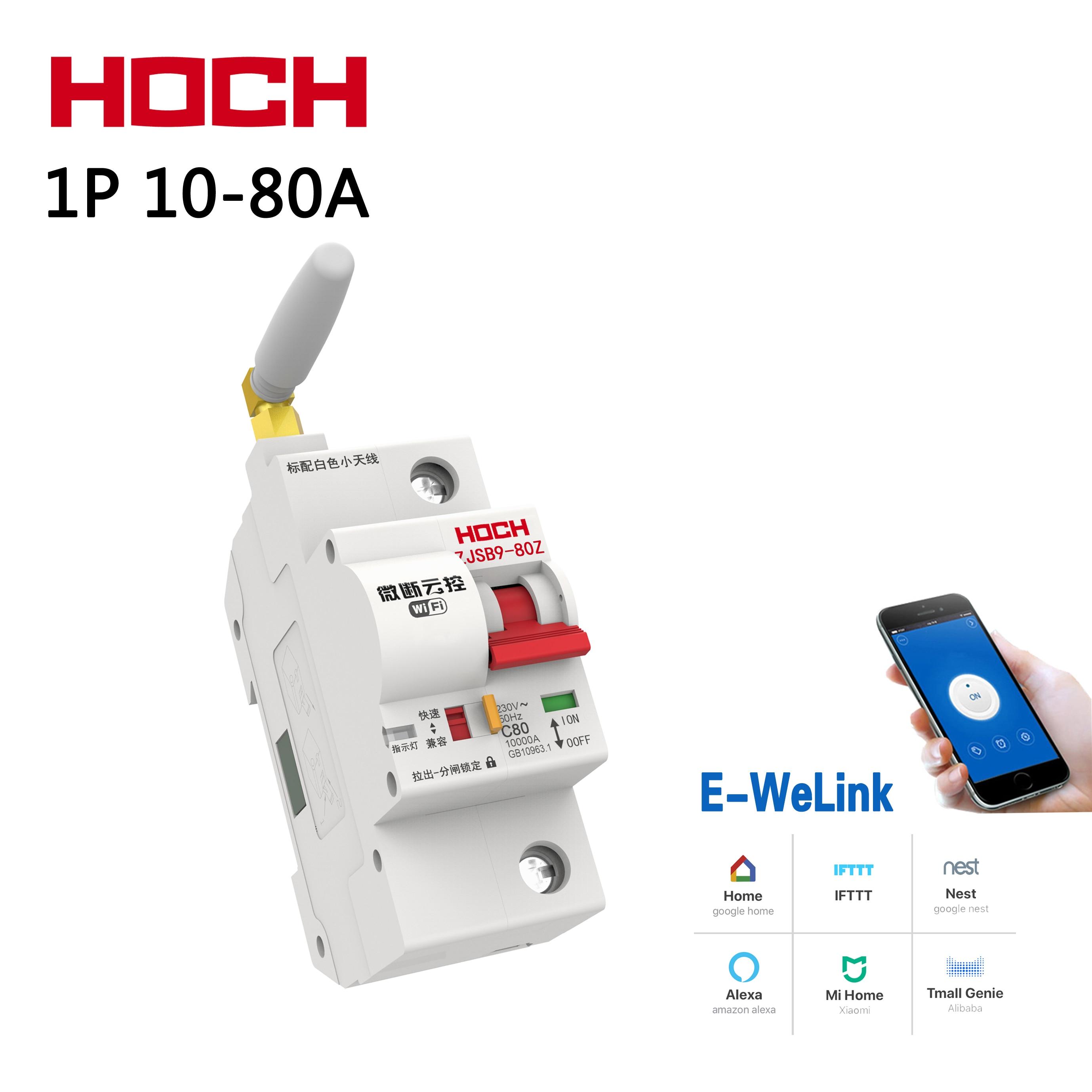 HOCH WIFI disjoncteur 1P usine télécommande sans fil Ewelink Tuya intelligent intelligent automatique commutateur de surveillance de l'énergie