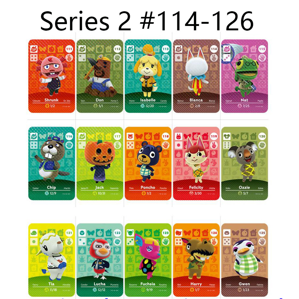 Animal Crossing Card Amiibo Locks Nfc Card Work For NS 3DS Switch Games Series 2 (114 To 126)