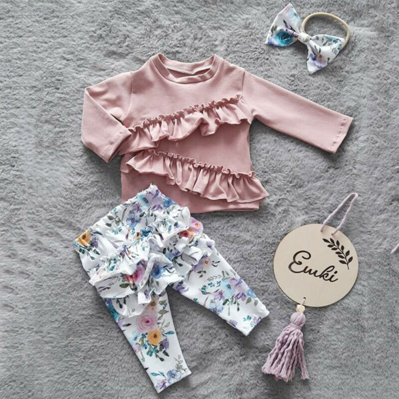 Autumn 3PCS Toddler Baby Girl Ruffle Tops T-shirt Floral Pants Outfits Clothes