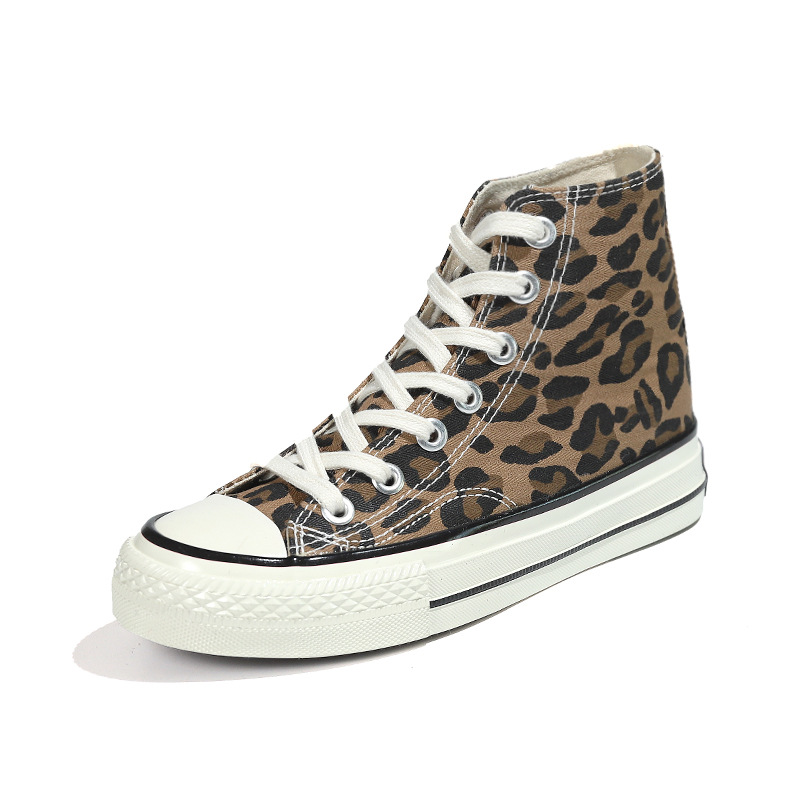 Women's High-top Canvas Shoes Leopard Fashion Women Shoes Soft Street High Top Sneakers Woman Shoes Sneakers Sports Safety Shoes