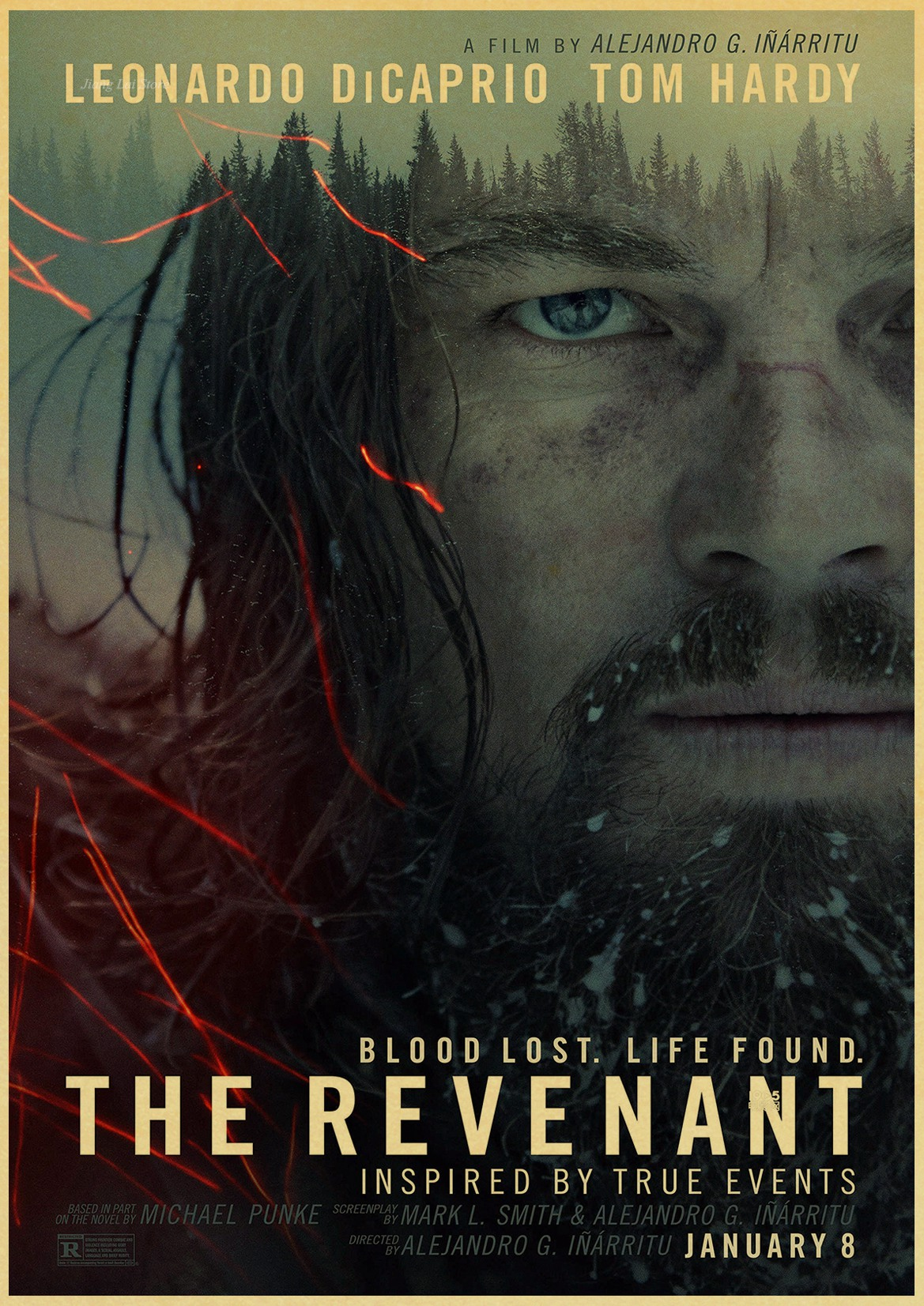 <font><b>Leonardo</b></font> <font><b>DiCaprio</b></font> once in Hollywood the Revenant Vintage paper poster wall <font><b>painting</b></font> decoration image