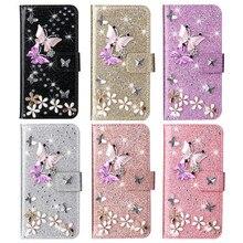 Flash Diamond Butterfly Leather Case For Samsung Galaxy A10 A20 A40 A50 A70 A11 A31 A41