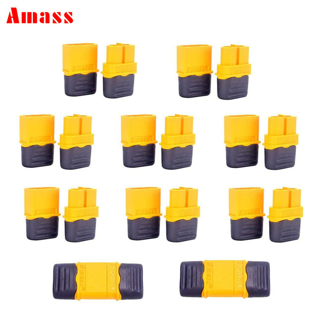 100Pairs Amass XT60H Plug Male and Female 3.5mm golden Plated Bullet Connectors with Lock Protective Sleeve for RC  Lipo Battery