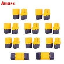 Connecteurs à balles en laiton XT60H mâles et femelles de 100mm, paires avec manchon de protection de verrouillage pour batterie RC Lipo, 3.5mm