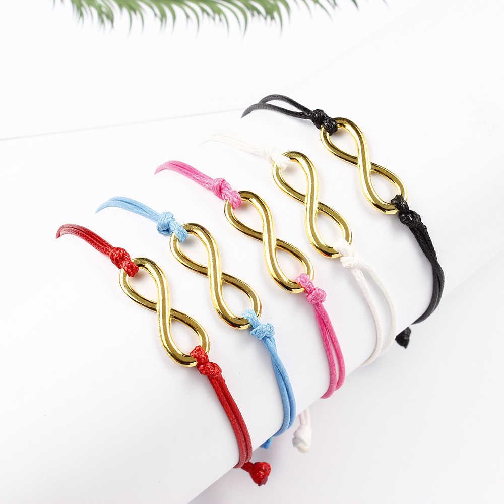 1 szt. Kobiety ręcznie robiona bransoletka urok złoty kolorowy wisiorek liny łańcucha bransoletka moda para liny łańcucha biżuteria prezent