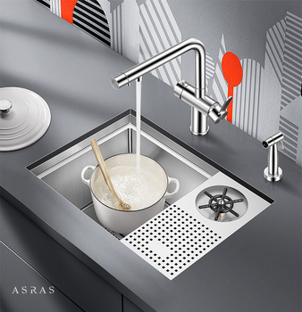 ASRAS 5338X 304 Stainless Steel Cup Washer Sink With Faucet High-pressure Automatic Coffee Shop Wine Bar Cup Rinser Single Slot.