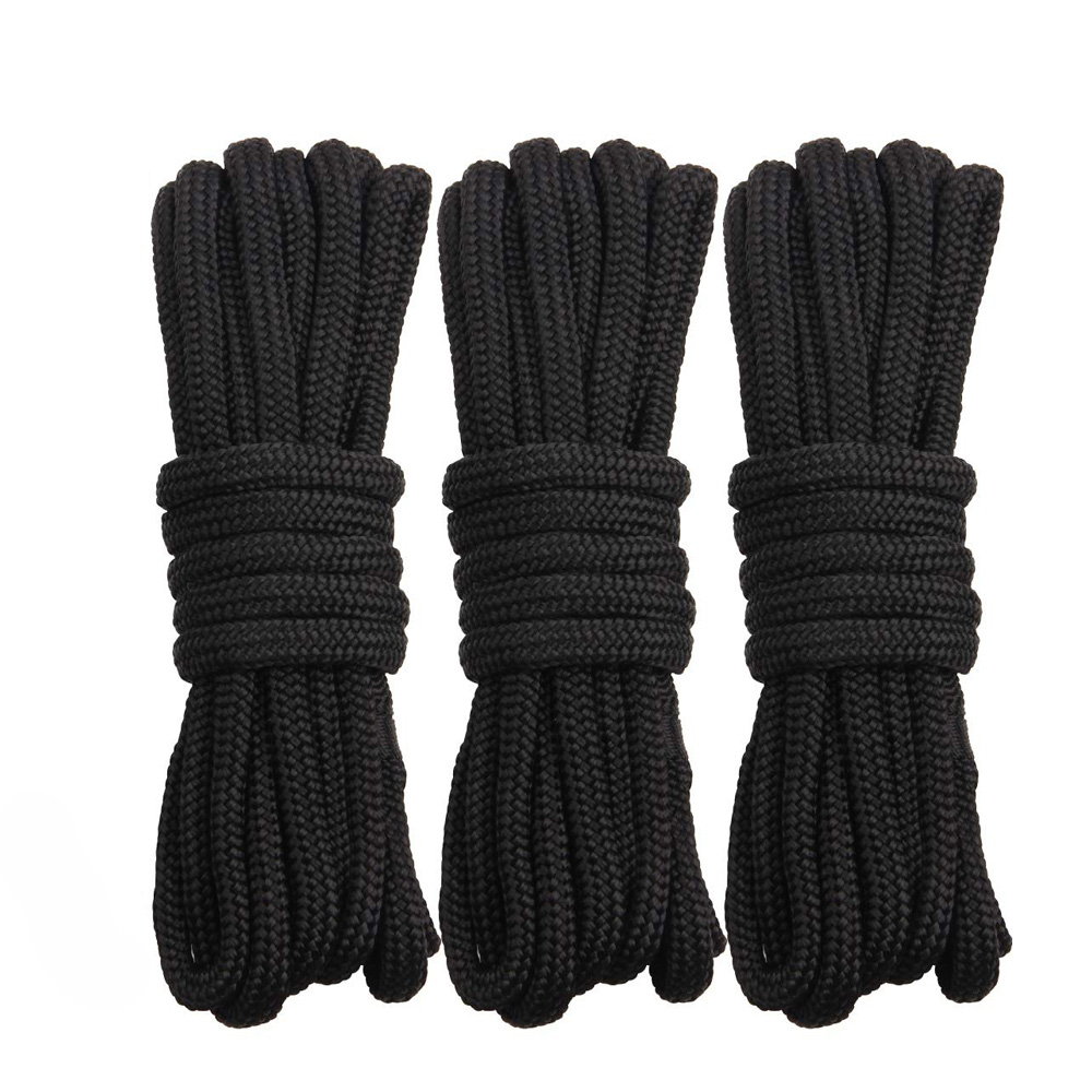 16 Strands Black Double Braid Nylon Dockline Dock Line Mooring Boat Rope Anchoring Docking Rope Length 16.5feet 25feet 50feet