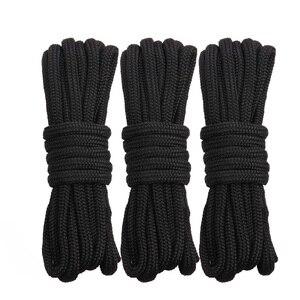 Linha de encaixe de nylon, corda de 16 fios preta com trança dupla, doca, amarração, corda de carga, comprimento 16.5 pés, 25 pés 50 pés
