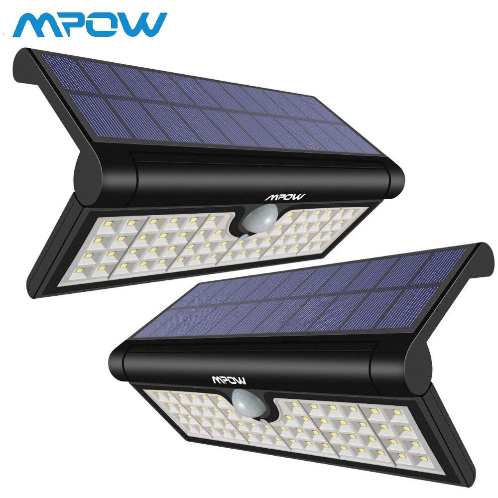 2 Pack Mpow 58 LED Motion Sensor Solar Light Foldable Portable Bright Wall Lamp Outdoor Weatherproof Luz Solar Led Para Exterior