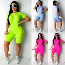 2PCS/Set Women Sports Suit Neon Top Short Pants Workout Clothes Tracksuit Fashion Summer Outfit Ladies Casual 2 Piece Set 2019(China)