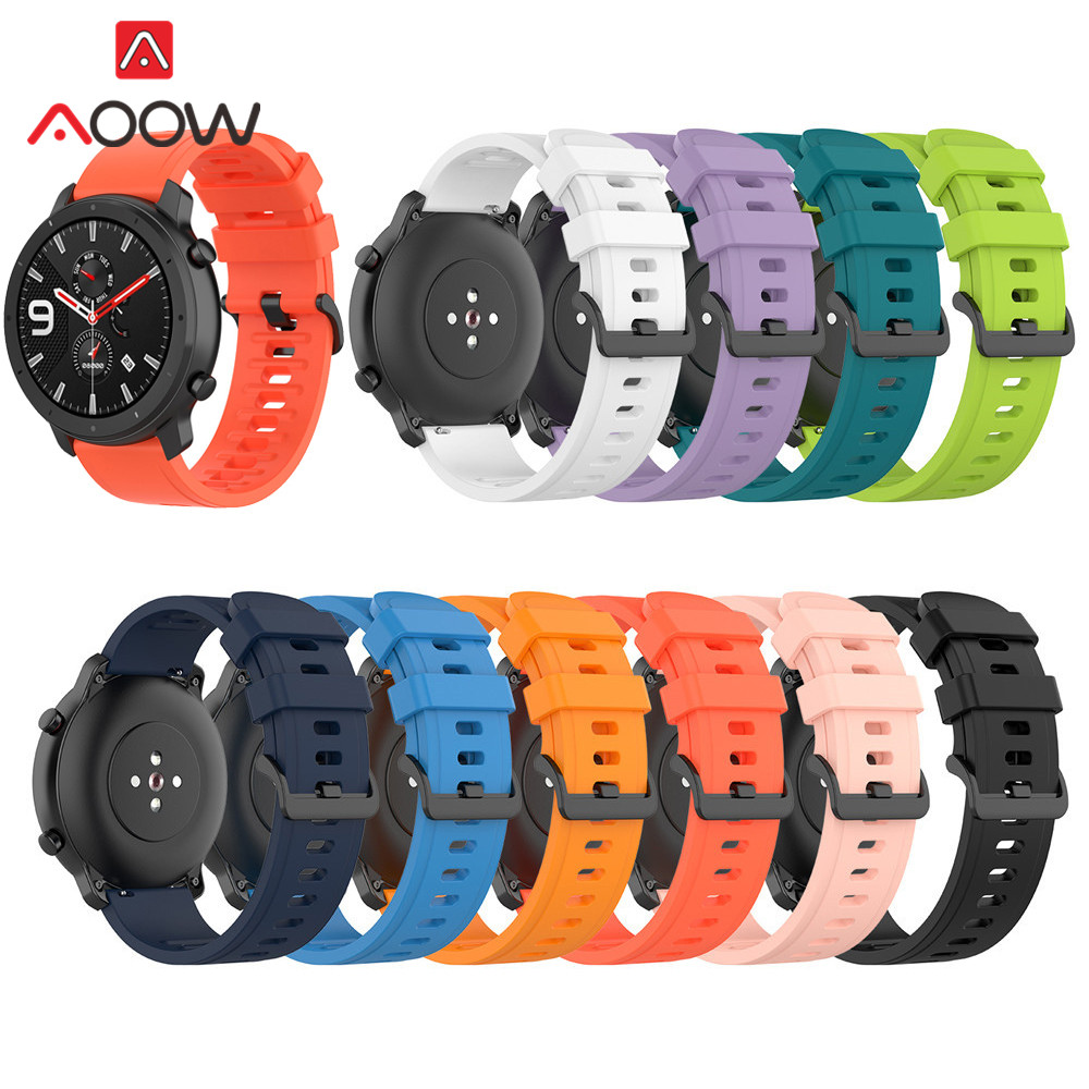 Sport Silicone Band 20mm 22mm For Amazfit GTR 42mm 47mm GTS Samsung Galaxy Watch Active2 S2 S3 Huawei GT Watchband Strap Correa