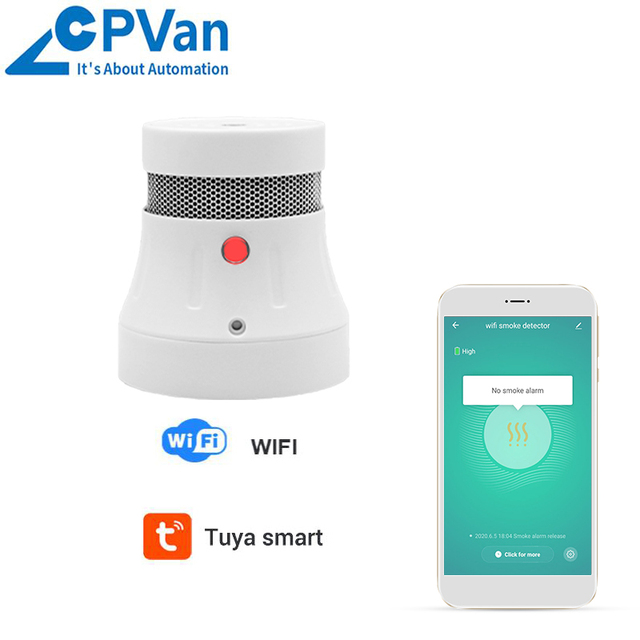CPVAN WIFI Smoke Detector Fire Alarm Sensor Smart Wireless Fire Protection Smoke Detector Home Security System Firefighters
