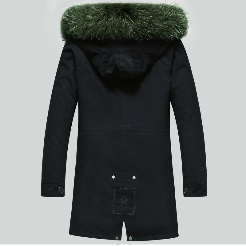 Real Fur Coat Men Winter Jacket Natural Raccoon Fur Coats Hooded Warm Long Jackets Plus Size Male Parkas LSY080391 KJ811