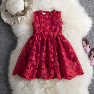 Elegant Princess Girl Lace Dress Summer Girls Clothes Children Clothing Baby Kids Dresses For Girls Causal Wear Dress Red White