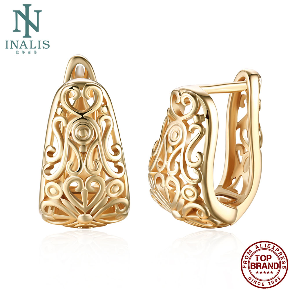 INALIS Earrings For Women Vintage Flower Pattern Hollow Stud Earring Romantic Female Champagne Gold Fashion Jewelry Wedding Gift