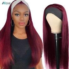 Parrucca Allove parrucca capelli umani 99J parrucca rossa bordeaux parrucca diritta con frangia Glueless parrucche colorate per capelli umani per donne