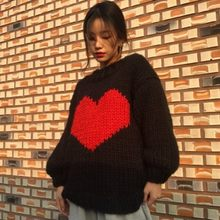 Kawaii Merah Hati Jacquard Sweater Wanita Kasual Puff Sleeve Pullover Jumper Long Knit Tops Sweater Korea Streetwear Satu Ukuran(China)