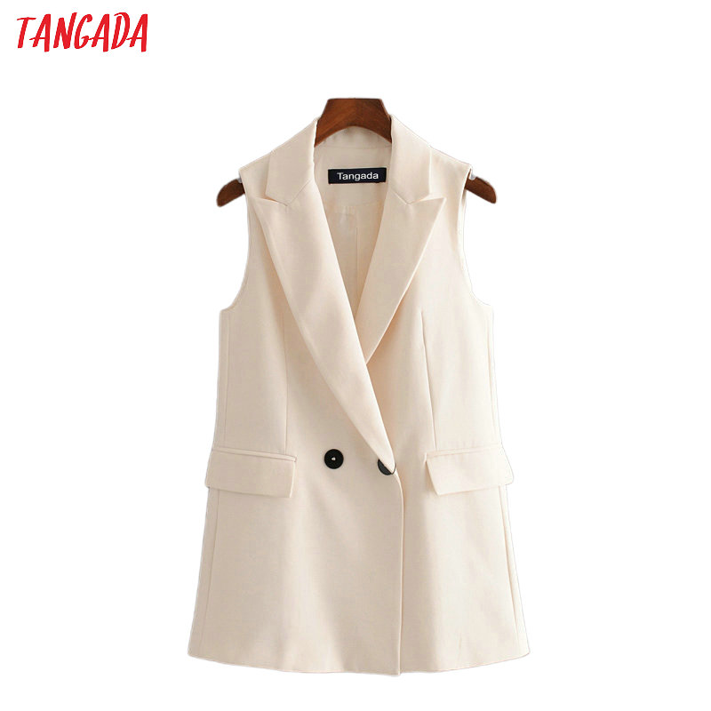 Tangada Woman Beige Long Vest Coat Office Ladies Waistcoat Sleeveless Blazer Double Breasted Outwear Elegant Top 3H465