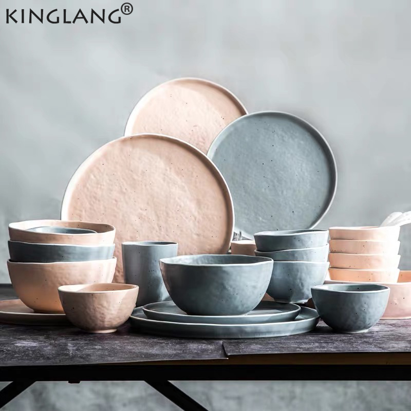 KINGLANG assiette à Steak maison bol de riz | Service de vaisselle de Style nordique, plats en céramique pour la maison bol à dîner assiette à déjeuner